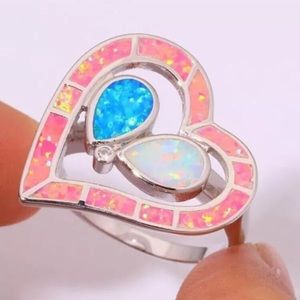 SZ7 WHITE, PINK & BLUE FIRE OPAL HEART SILVER RING